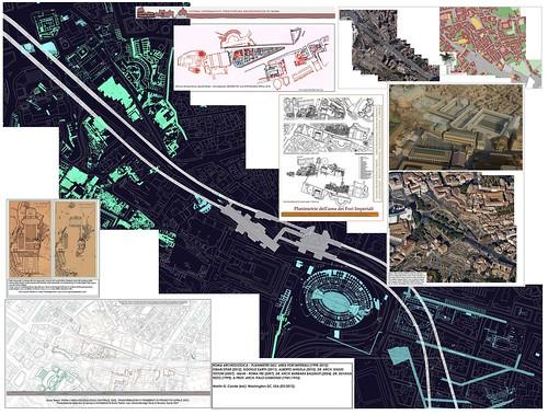 ROMA ARCHEOLOGICA - PLANIMETRE DELL' AREA FORI IMPERIALI (1933/1941 & 1998-2012).