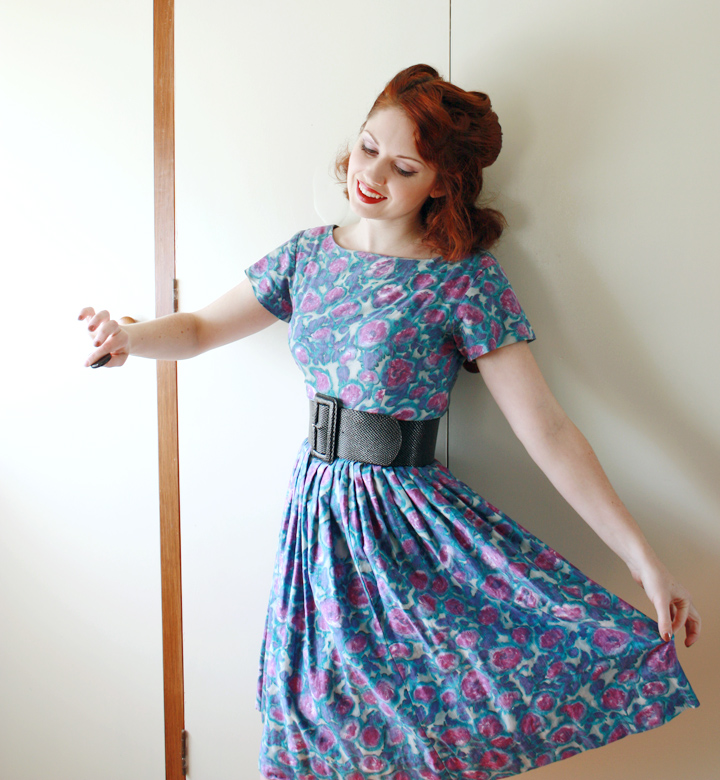 vintage watercolour dress blue b
