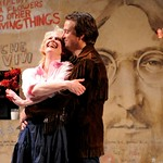 Esme (René Augesen) and Jan (Manoel Felciano) share a happy moment in front of Prague's famous Lennon Wall before the momentous Rolling Stones concert of 1990 in the Huntington Theatre Company's production of Tom Stoppard's <i>Rock 'n' Roll</i> at the Avenue of the Arts/BU Theatre. Part of the 2008-2009 season.