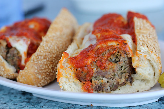 Italian inspired meatball sub