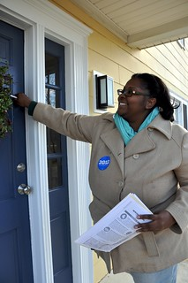 Jacquetta canvassing in NH in winter 2012. Photo by Kristina Bigdeli.
