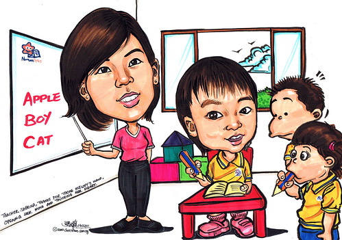 Teacher and toddler caricatures at Nurture Stars