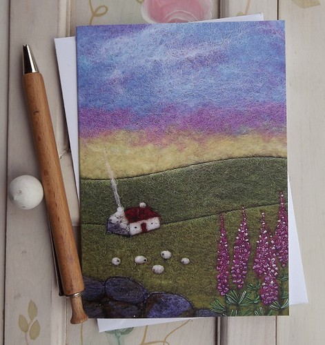 Lupin Cottage Printed Greetings Card