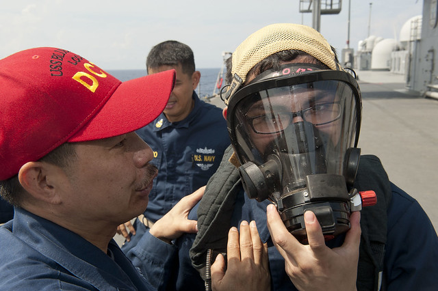 Sailors get trained on the proper wearing of the self-contained