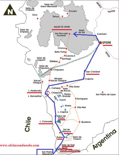 Mapa del recorrido por el salar de Uyuni
