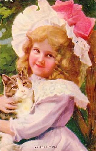 LittleGirlwithkittenvintageVictorianPostcard