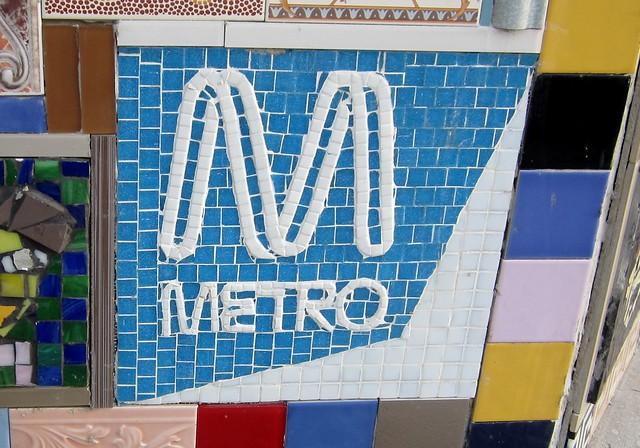 Metro logo: Mosaic mural, Patterson station
