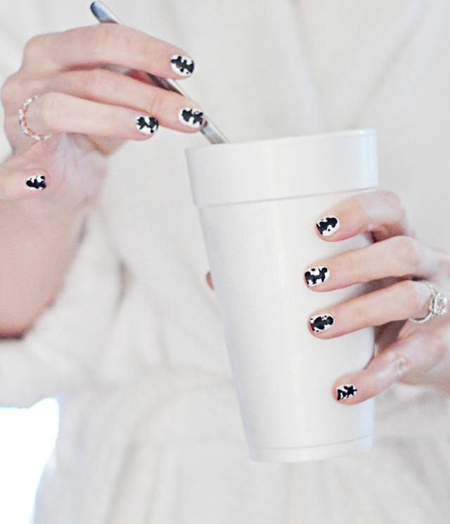 inkblot nails - black  and white manicure
