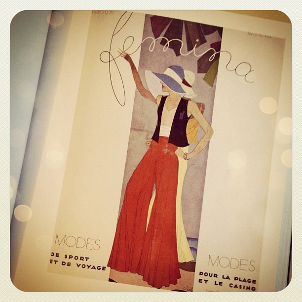 Impossibly chic! This fashion illustration for the cover of Femina is from 1931...  considered pajamas or loungewear then, but most probably, resort wear, completely modern & wearable today with hints of 70's & bohemian. The solid colors & timelessness th