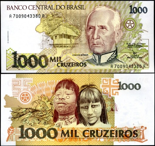 1000 Cruzeiros Brazília 1990-91, Pick 231