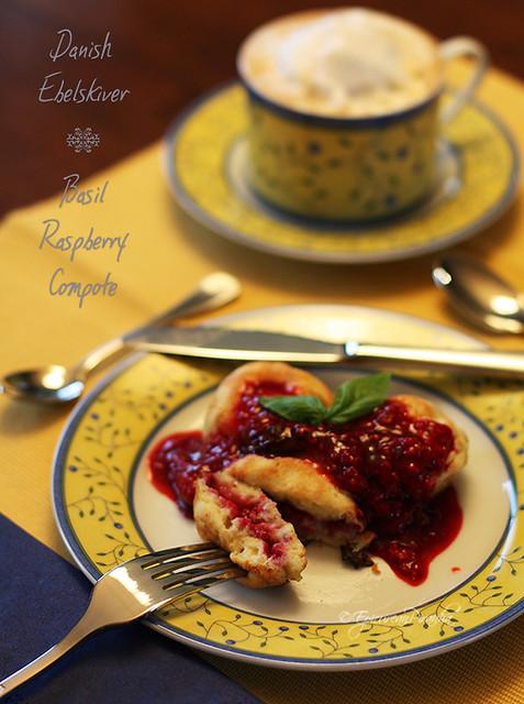 Raspberry Basil Compote Ebelskiver ~ Delish!
