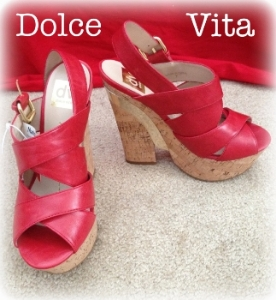 Dolce Vita red wedge sandals