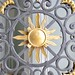 Cast Iron Sun motif on main gate at Catherine's Palace, Tsarskoe Selo, St Petersburg, Russia