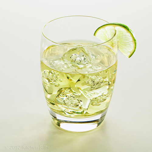 Gimlet Cocktail on-the-rocks with Lime Garnish, White Background