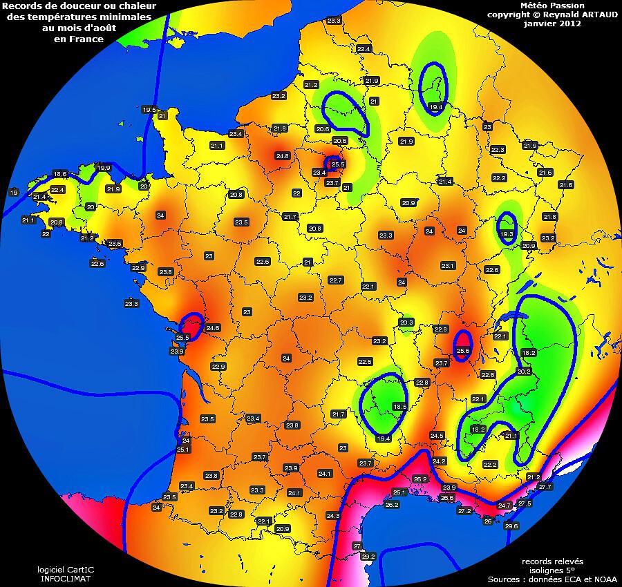 records de douceur ou chaleur des températures minimales au mois d'août en France Reynald ARTAUD météopassion