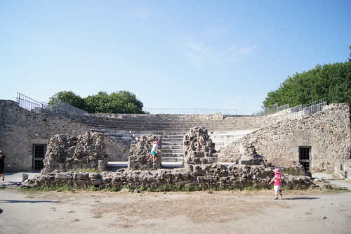 Kids playing in an ancient odeon