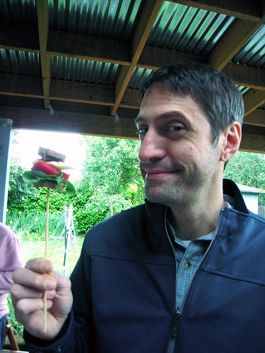 Mike Enjoying a Vegan Skewer
