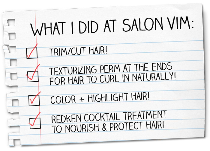 Salon vim hair color texturizing perm review yina goes for C curl perm salon vim