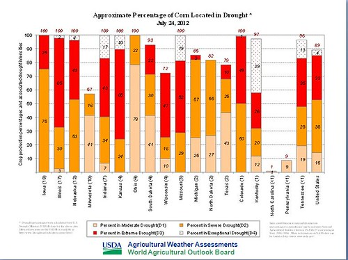 Approximate Percentage of Corn Located in Drought - July 24, 2012