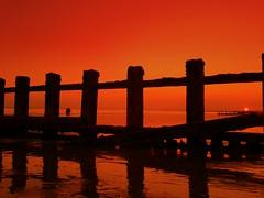 Leaving a setting sun