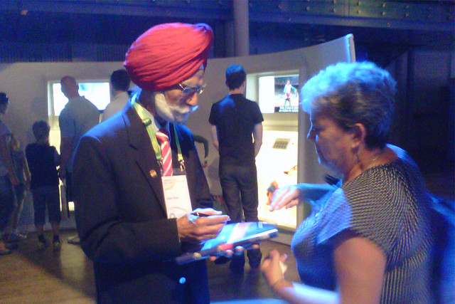Indian field hockey gold medallist Balbir Singh visits The Olympic Journey: The Story of the Games. ©ROH/2012