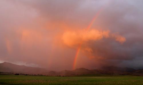 sunset rain rural rainbows sanbenitocounty canon7d