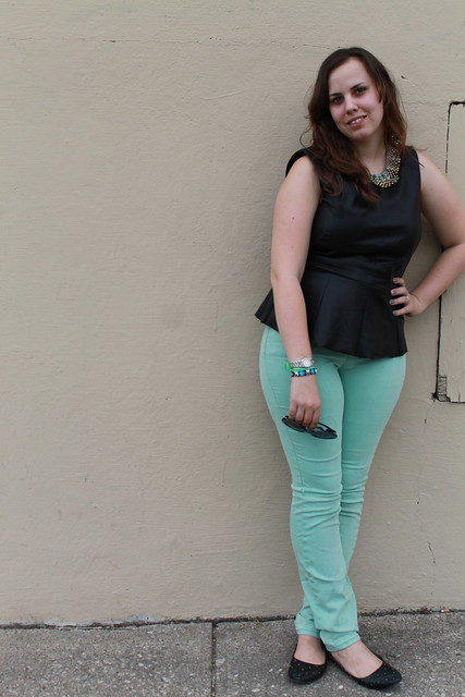 Leathermint outfit: vegan leather peplum top, mint green BDG jeans, quilted flats, peter-pan collar necklace, etc. - Urban Outfitters, Anthropologie