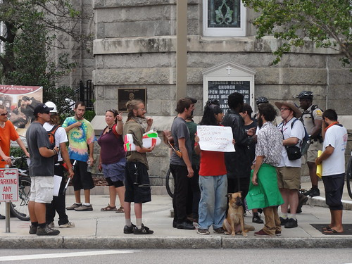 Close-up of protesters in front of Sacred Heart Church