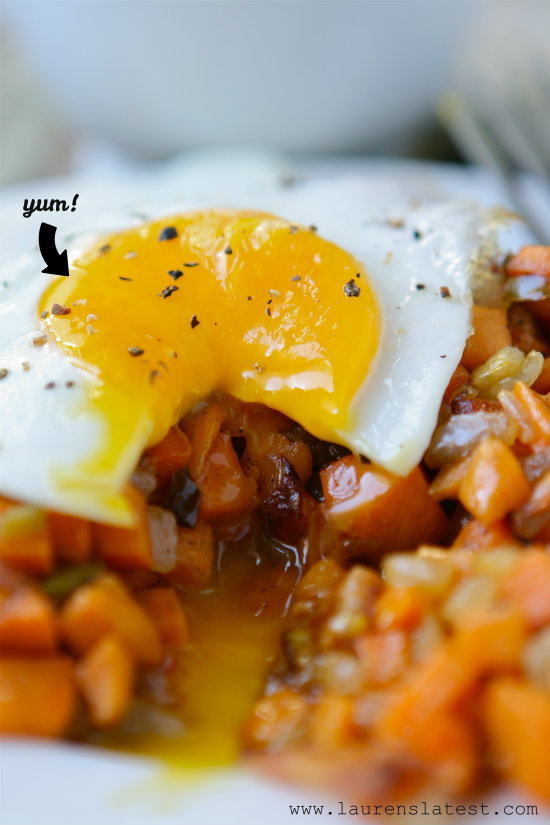 Fried Eggs and Sweet Potato Bacon Hash 1