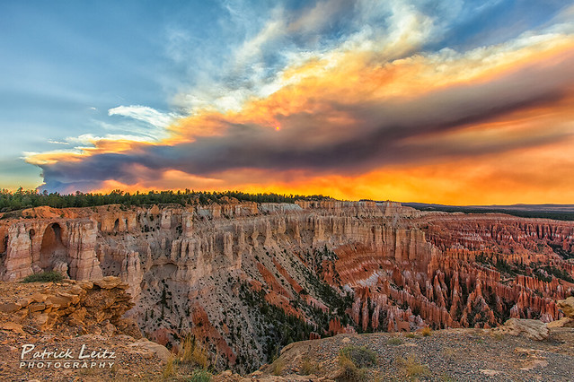 Fire over Bryce Canyon
