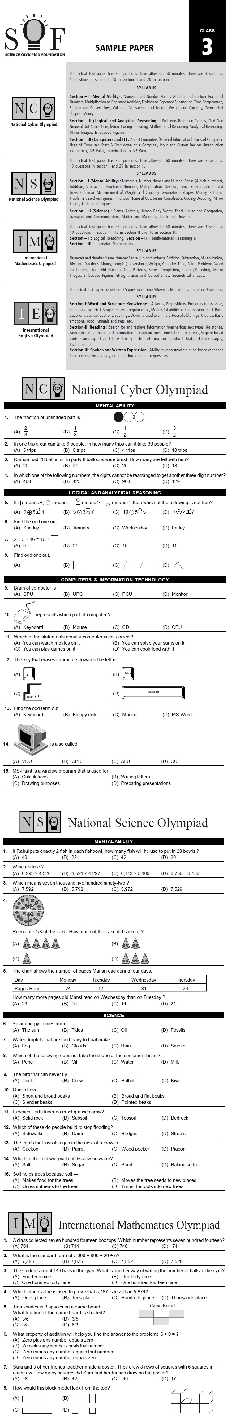 NCO, NSO, IMO & IEO Class 3 Sample Papers