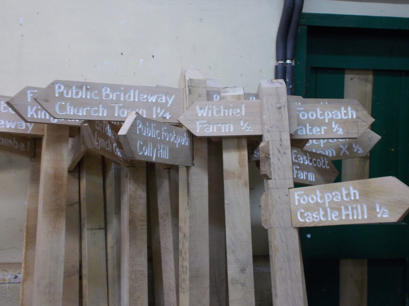 Signs stacked