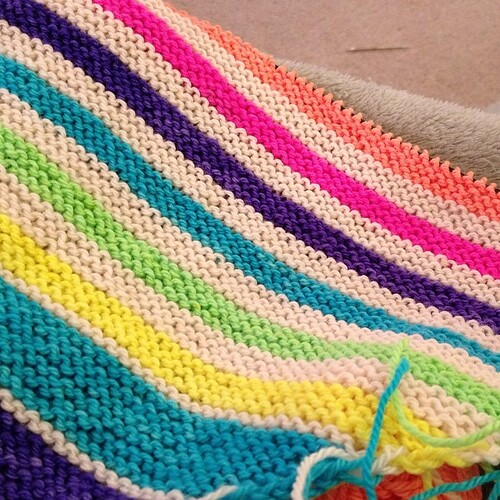 Made it through the first full highlighter repeat. #dyeabolical #knitting #seenfromspace