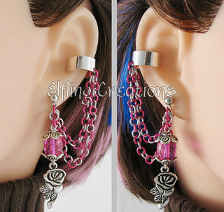 Pink and Silver Cartilage Chain Earrings