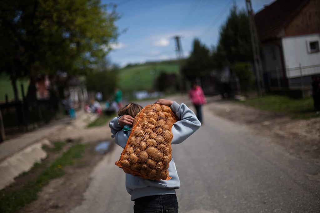 Egy zsák krumplit visz az egyik helyi srác Szakácsiban | Fotó: Magócsi Márton