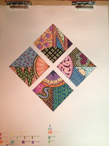 Zentangle Compass: Final in Color