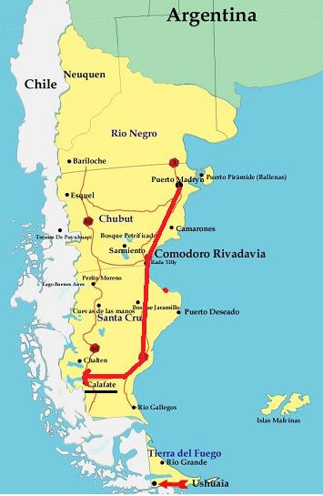 Mapa de Puerto Madryn a El Calafate
