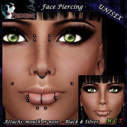 *P* Unisex Face Piercing ~ Serie K2 ~ Black & Silver