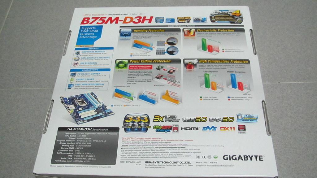 Motherboard: Gigabyte B75M-D3H