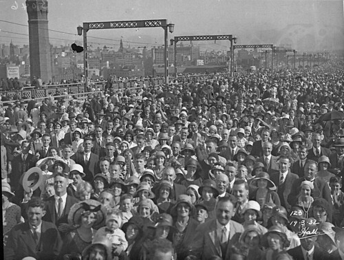 Crowd crossing the Bridge, Sydney Harbour Bridge Celebrations, 19 March 1932, Hall & Co.