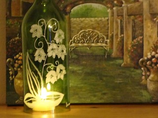 Hand Etched Luminary Lilly of the Valley