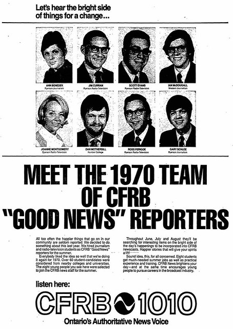 "Vintage Af #1,905: Meet the 1970 Team of CFRB ""Good News"" Reporters"