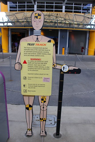 Safety sign - Test Track at Epcot