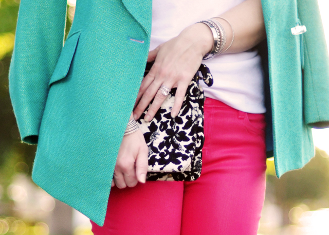 pink jeans -teal blazer-black and white bag