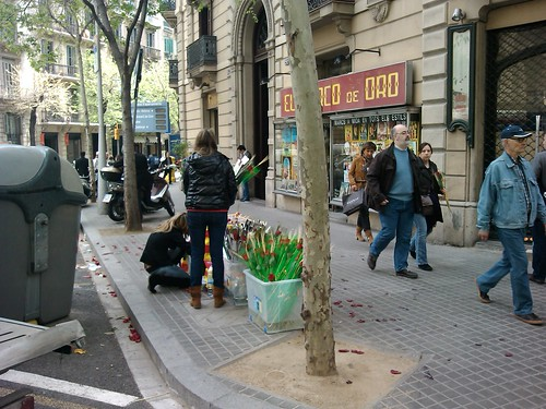 Sant Jordi Flower Sellers by simonharrisbcn