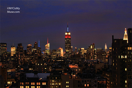 Empire State Building in Red White and Blue for the now taller 1 World Trade Center