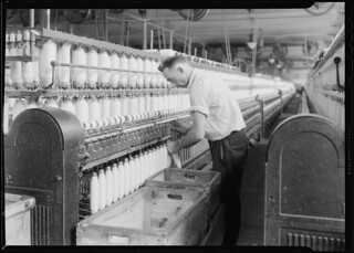 Textiles. Pacific Mills. Spinning, Doffing machine, April 1937