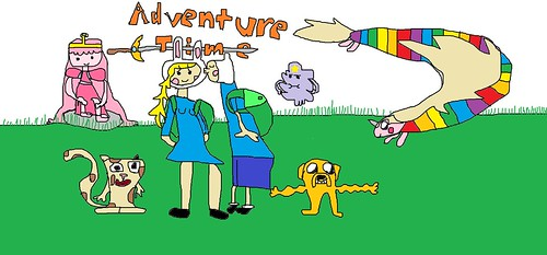 Adventure Time, (with Fionna, Finn, Cake, Jake, Lady, P.B, and LSP)!