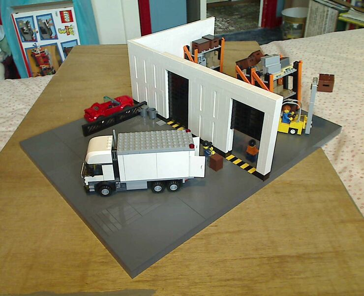 Outside overview of a LEGO® model of a warehouse