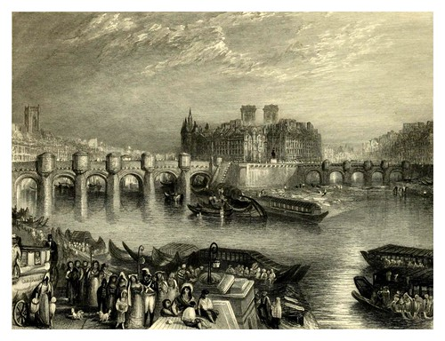 027- El puente nuevo en Paris-Wanderings by the Seine from Rouen to the source 1835- Joseph Mallord W.Turner